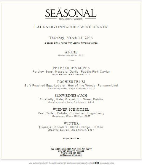 seasonal wine dinner menu