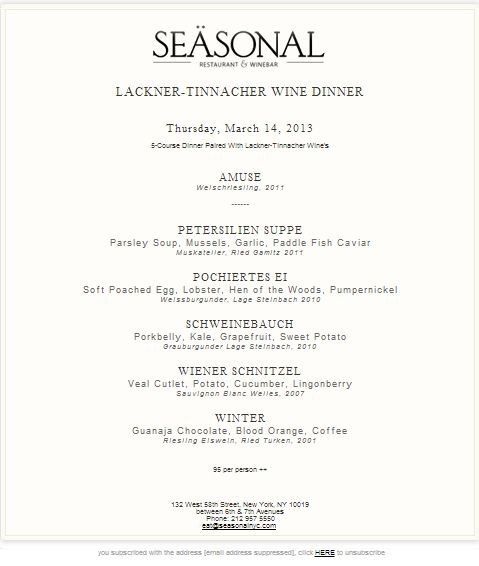 seasonal wine dinner menu