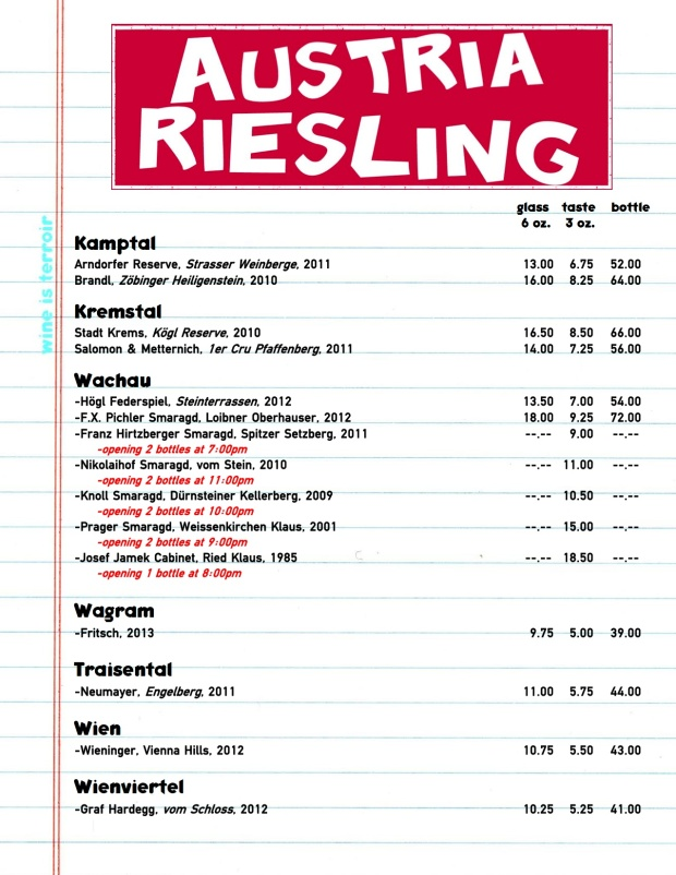 Austrian Riesling by the glass for Terroir Murray Hill 8.6.14 copy