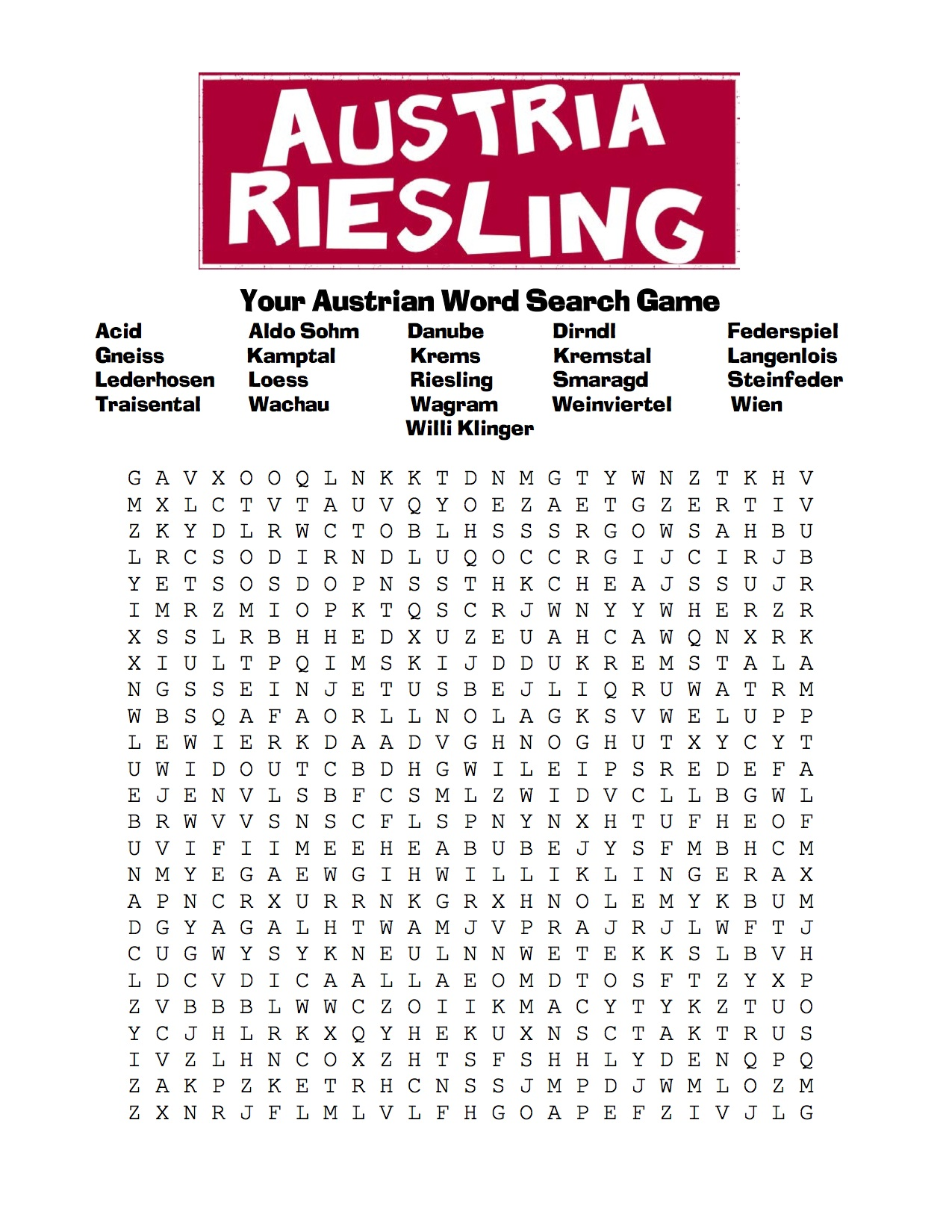 Austrian Conductor Crossword Austrian Word Search Game Copy